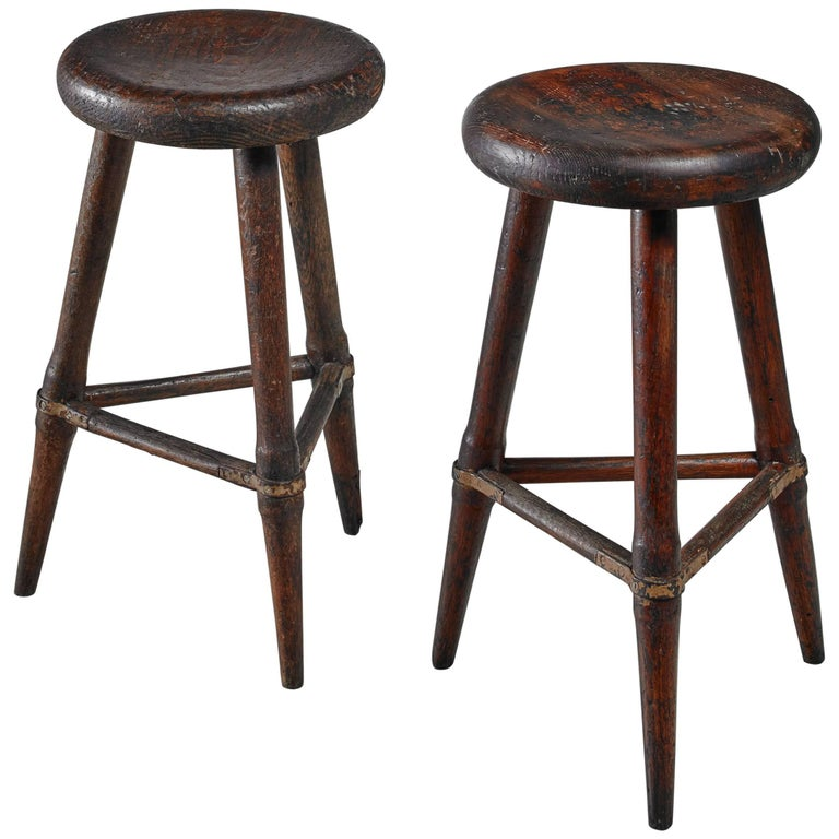 Pair of High Scandinavian Wooden Tripod Stools with Iron Connections, 1930s 1