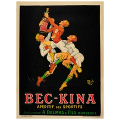 Large Original Vintage Drink Poster Ft. Rugby for Bec Kina Aperitif Des Sportifs