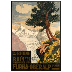 Original Antique Furka Oberalp Railway Poster - From The Rhone To Rhine By Train