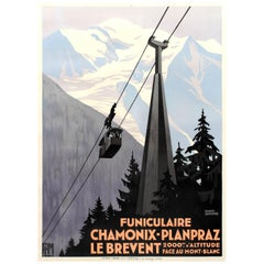 Original Art Deco PLM Poster by Broders - Chamonix Planpraz Le Brevent Cable Car