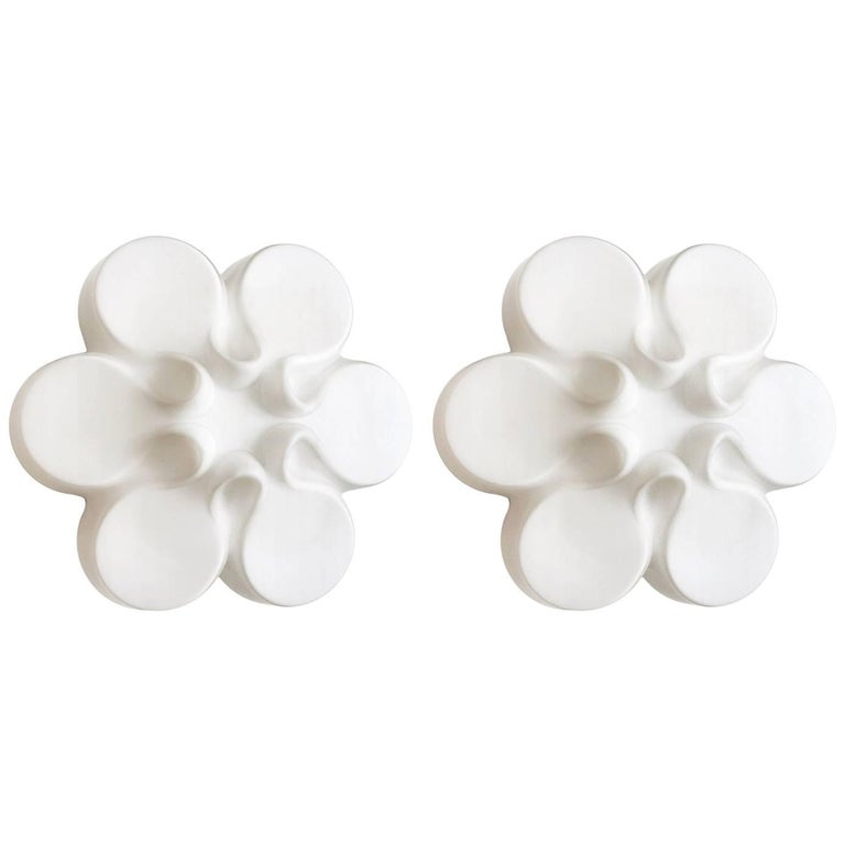Pair of Rare White Glass Ceiling or Wall lights Flush Mounts by Limburg, 1960s