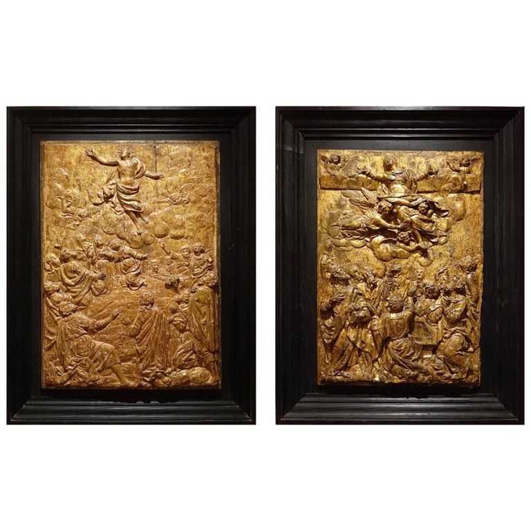 Pair of Carved Oak Gilt Panels, Flanders Late 16th Century