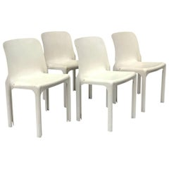 1969, Vico Magistretti for Artemide, Set of Four White Selene Chairs