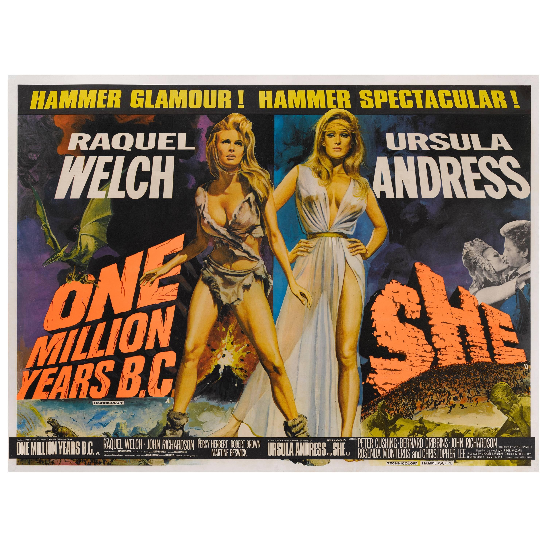 """""""One Million Years B.C. /  She"""" Original British Movie Poster"""