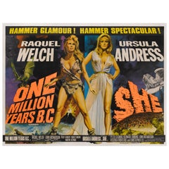"""One Million Years B.C. /  She"" Original British Movie Poster"