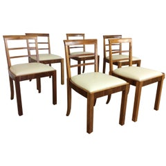 Set of Six Art Deco Dining Chairs, Newly Upholstered
