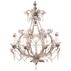 Large Crystal Eight-Light Chandelier