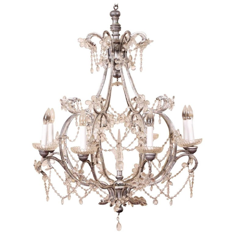 Crystal Chandelier Sale: Large Crystal Eight-Light Chandelier For Sale At 1stdibs