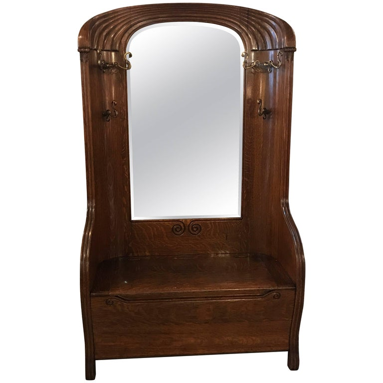 19th Century Art Nouveau Mirrored Hall Tree Bench For Sale At 1stdibs