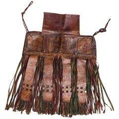 Vintage Leather Saddlebag with Long Fringes with Symbols Hand-Painted