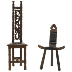 Pair of Moroccan / African Teak Accent Chairs, Unusual Sculptural Design