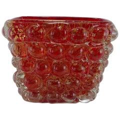"""1940 Ercole Barovier for Barovier & Toso Murano Glass Vase a """"Lenti"""" Series"""