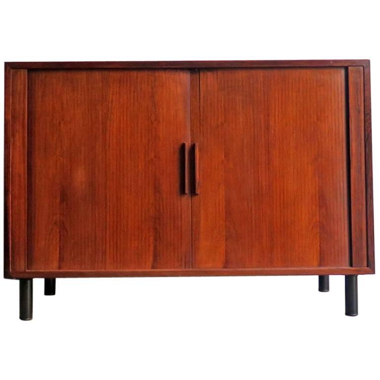 Danish rosewood small storage unit with tambour doors for for Small doors for sale