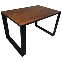 Rectangular Iron Cube Table with Embedded Wood Top, Dinner Table, Desk Table