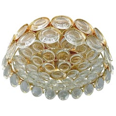 Gilt Palwa Flush Mount Ceiling Chandelier Optical Crystal Glass Lenses