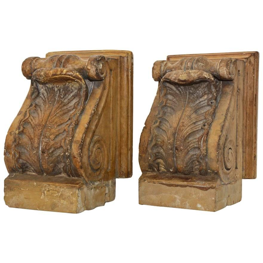 Pair of 19th Century Marble Corbels or Bookends