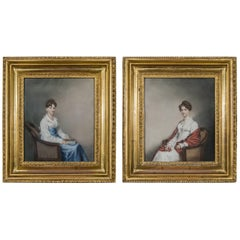 Rare Pair of Early 19th Century Regency Period Pastel and Watercolor Portraits