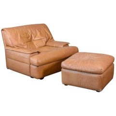 Pace Collection 'Monique' Leather Chair and Ottoman