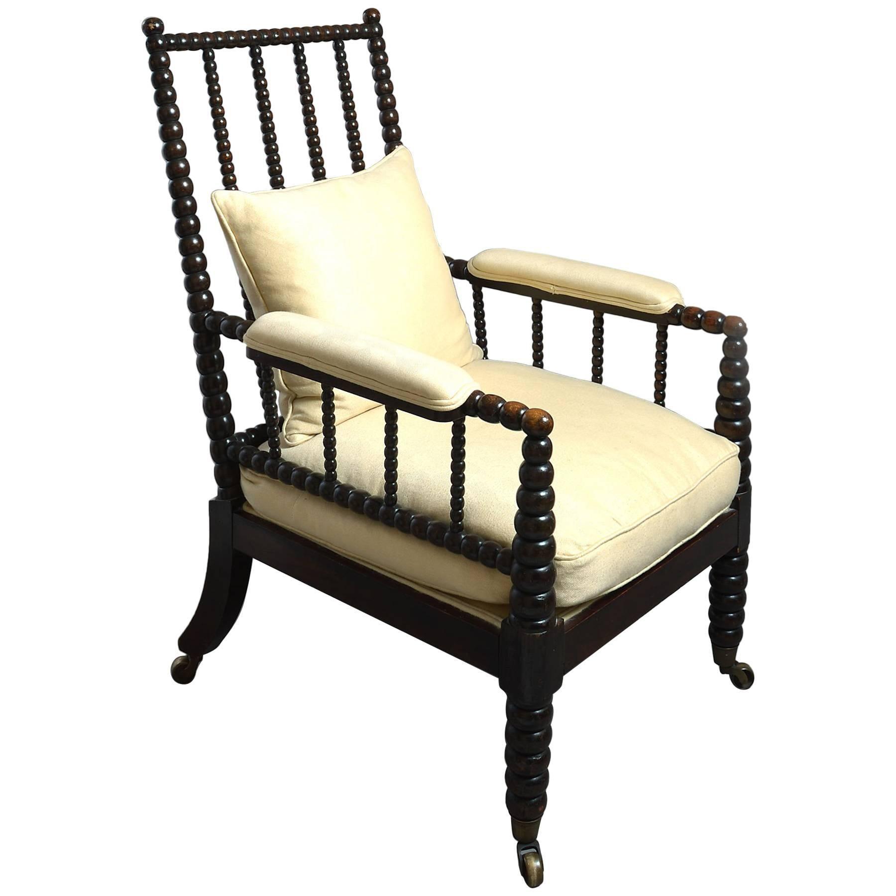 19th Century Bobbin Turned Ebonized Spindle Armchair