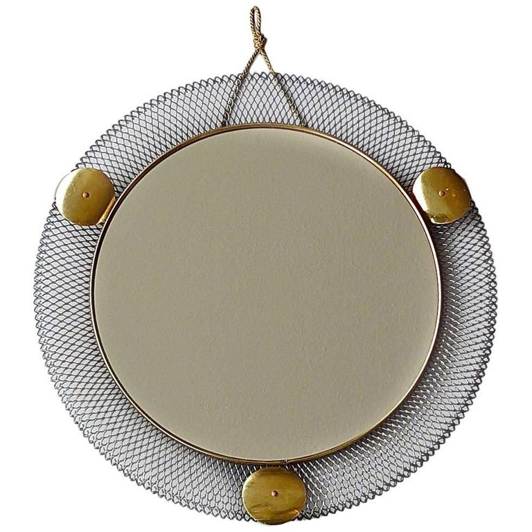 Round Black Midcentury Wall Mirror Brass Stretched Metal 1955 Mategot Biny Style For Sale