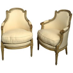 19th Century Pair of Painted Louis XVI Style Bergere Armchairs