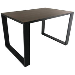 Rectangular Iron Cube Table with Embedded Wood Top, Dinner or Desk Table