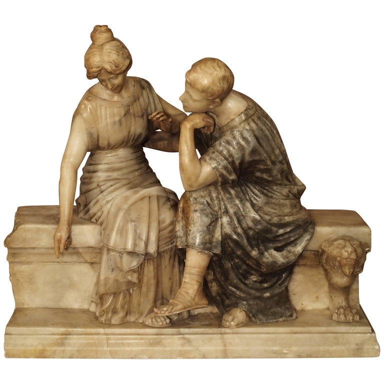 Late 19th Century Marble and Alabaster Carving of a Couple Seated on a Bench