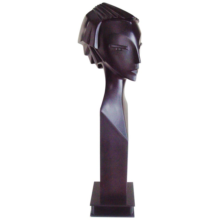 English Art Deco Revival Black Mannequin Head on Steel Base by Lindsey B