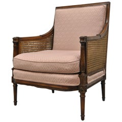 French Louis XVI Directoire Style Cane Bergere Armchair Carved Walnut Frame