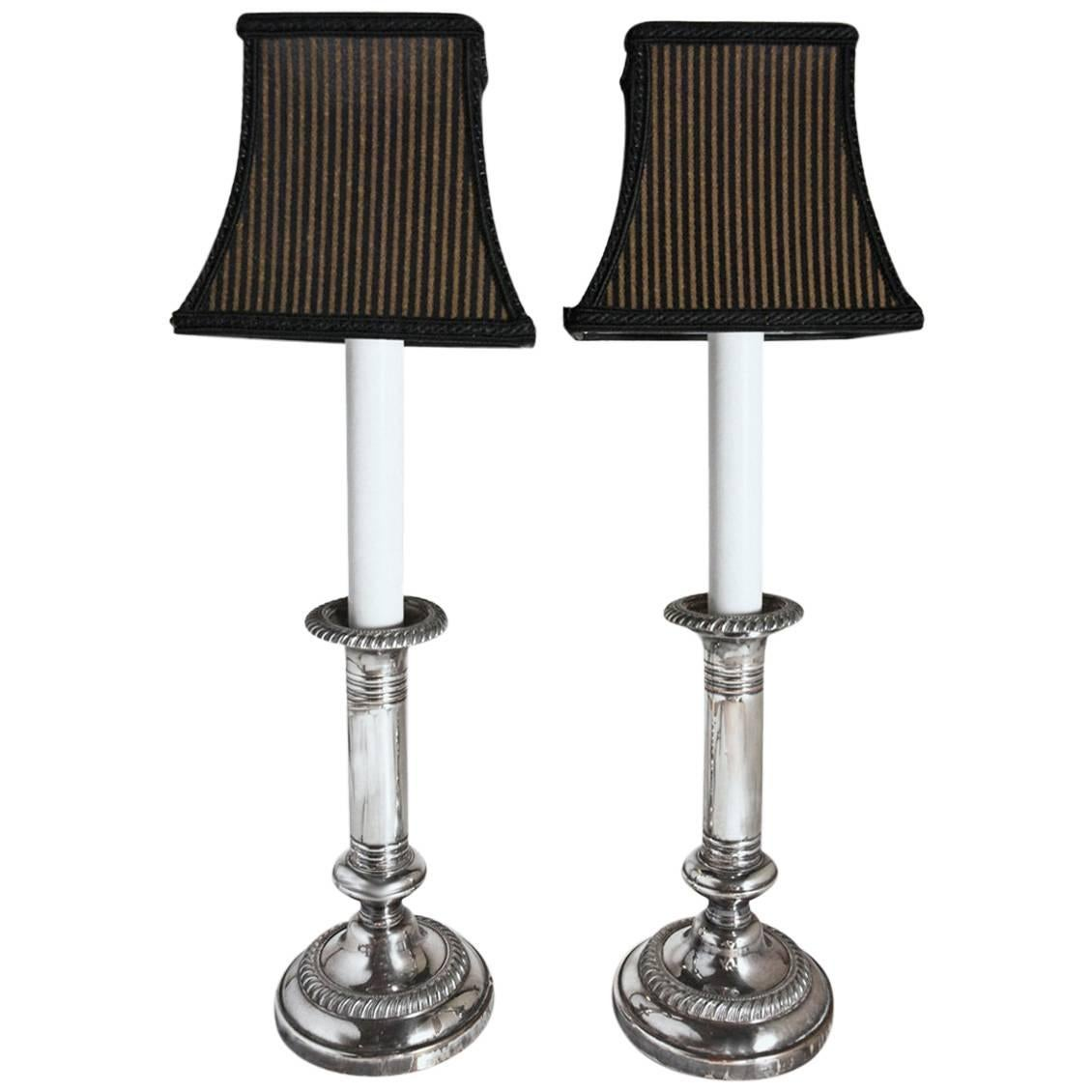 Pair of Antique Silver Plated Electrified Candlesticks Lamps with Shades