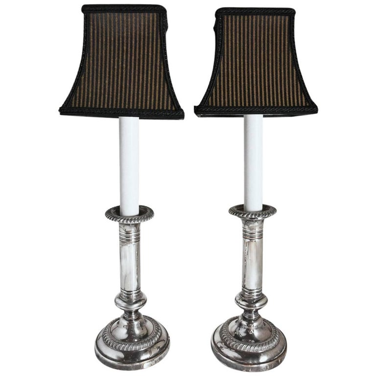 Pair of Antique Silver Plated Electrified Candlesticks Lamps with Shades For Sale