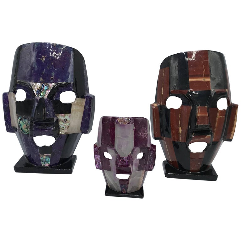 1980s Stone and Abalone Inlay Mask Sculpture, Set of Three