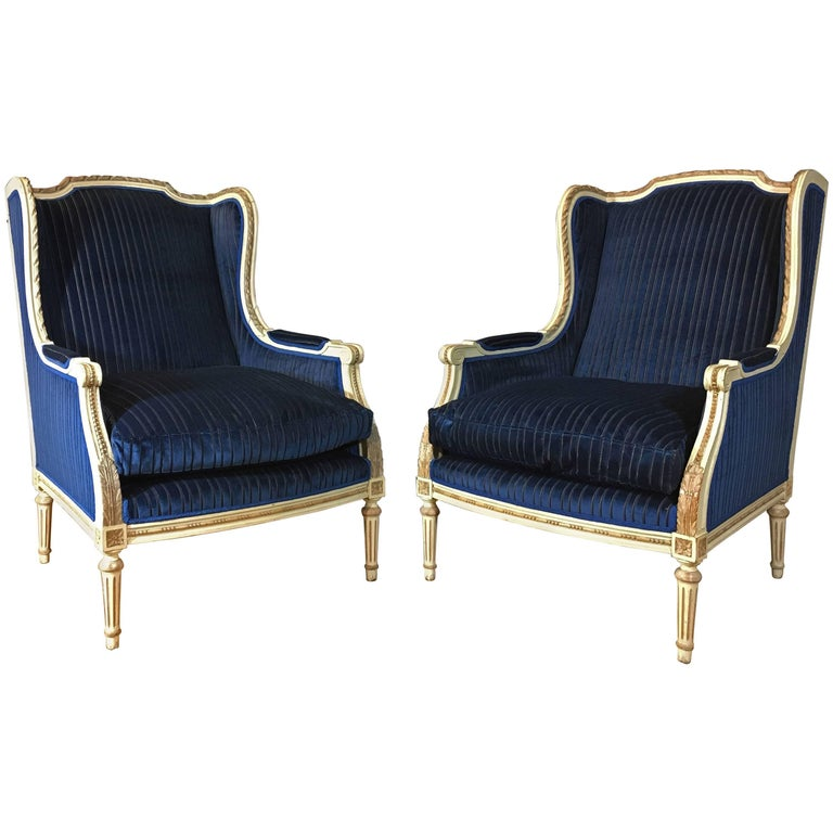 Mid-19th Century Italian Louis XVI Style Painted Polpar Wood Wing Chairs
