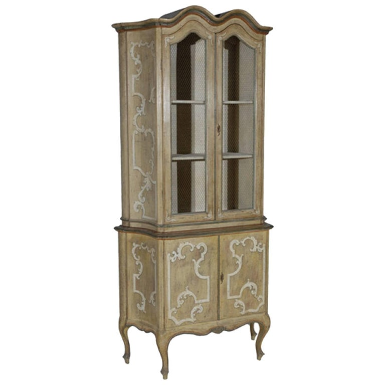 Hand-Painted Tall Cabinet with Four Doors Featuring Chicken Wire