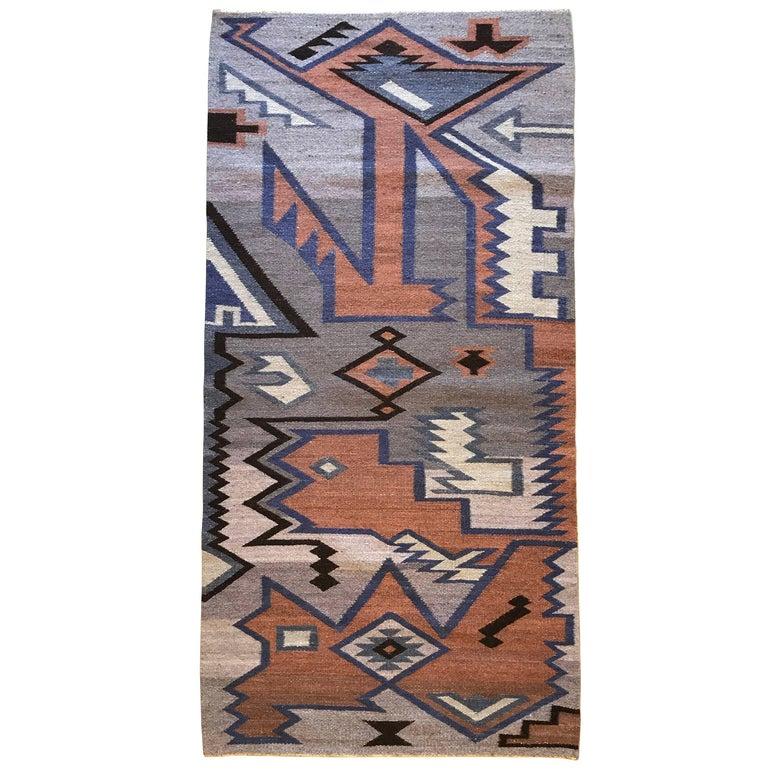 1960s Lavender And Black Wool Kilim Dhurrie Rug For Sale