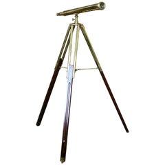 20th Century Brass Telescope on Stand