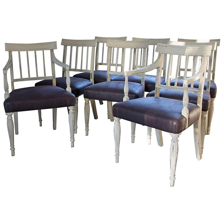 Superb set of eight gustavian dining chairs plum fabric for Plum dining room chairs