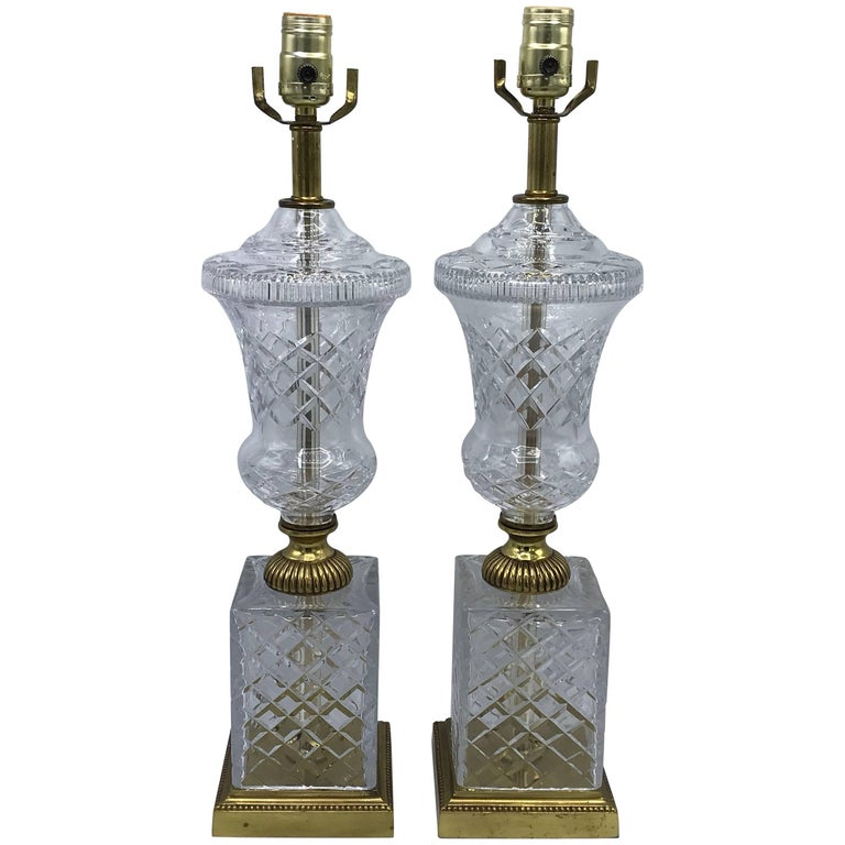 1940s French Crystal and Brass Lamps, Pair