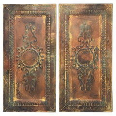 19th Century Architectural Reclaimed Raised-Tin Wall Plaques, Pair