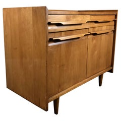 Handsome Modernist Blond Birch Wood  Two Door.Two Drawer Cabinet,Crawfo