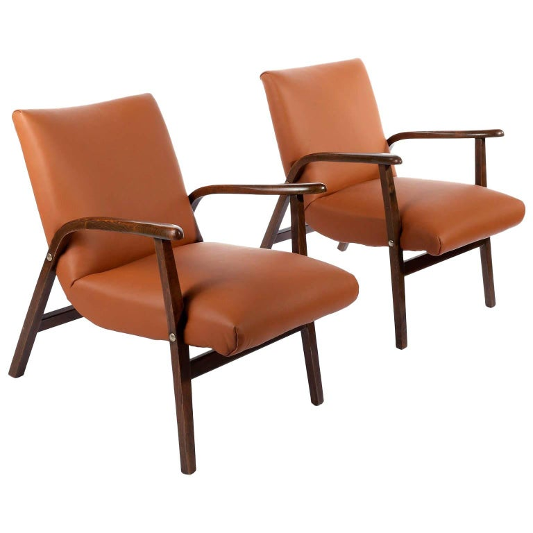 Pair Of Roland Rainer Chairs Armchairs Cafe Ritter Cognac Leather
