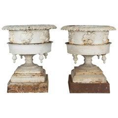 Pair of  American Garden Cast Iron Urns or Planters