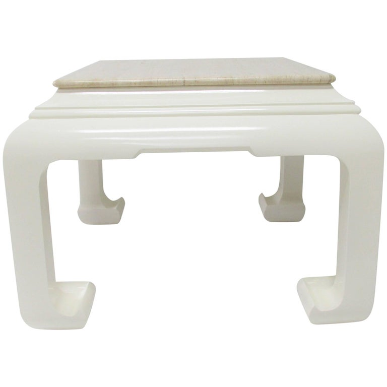 Ming Style Lacquered Side Table with Travertine Top