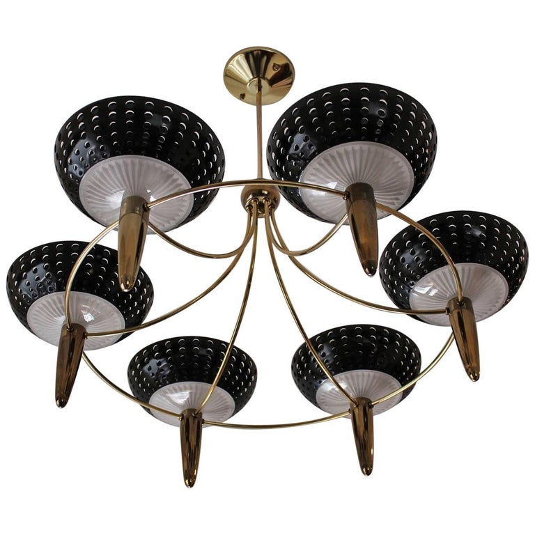 1950s Gerald Thurston Brass Chandelier by Lightolier