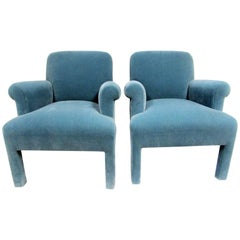 Pair of Mohair Armchairs by Angelo Donghia