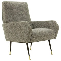 Italian Gray Armchair with Brass Foots, 1950s