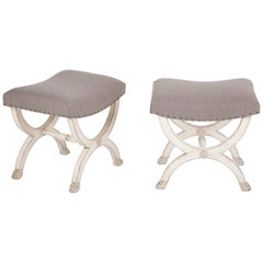 Pair of French Directoire Painted Stools