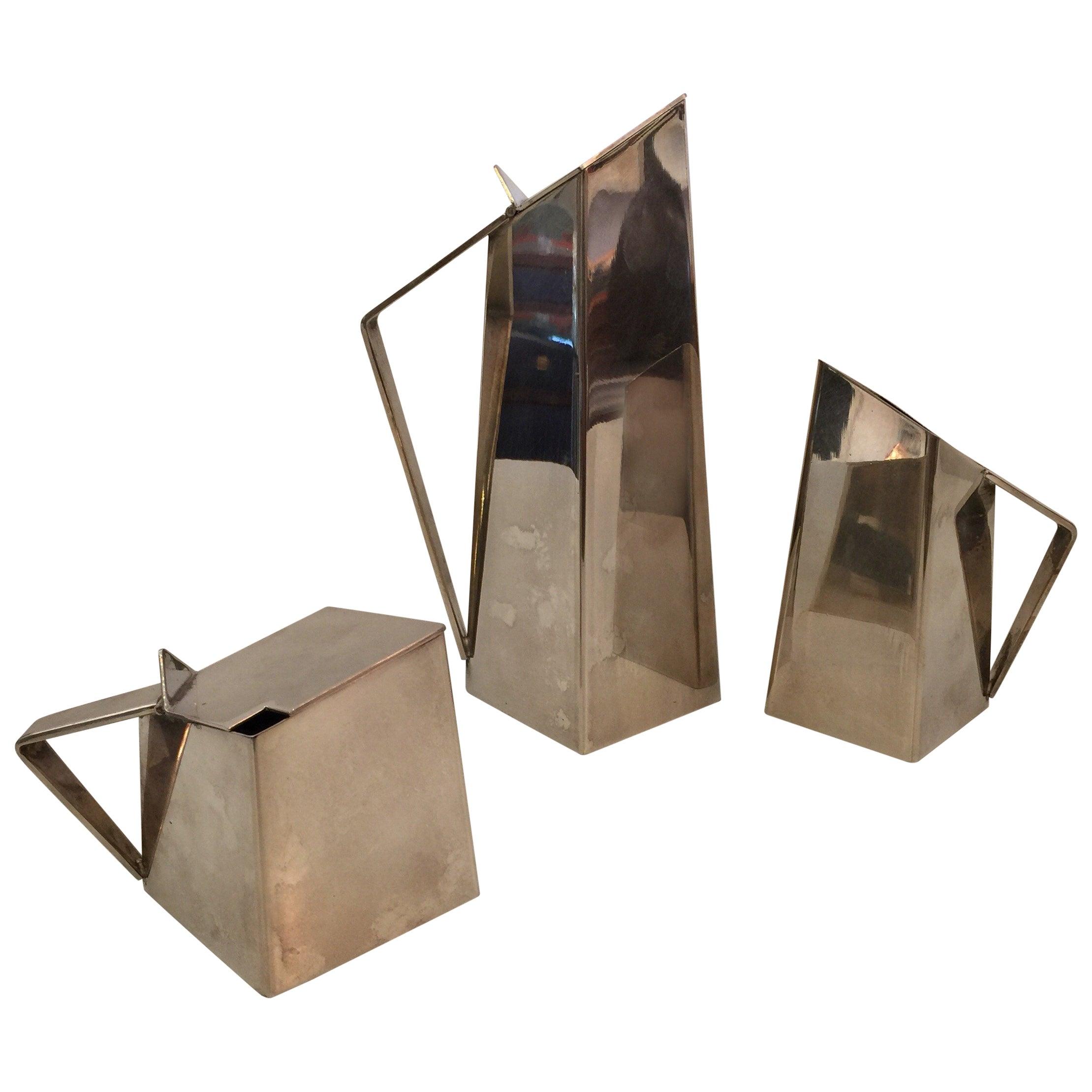 Geometric Design Silver-Plate Tea or Coffee Set, Manner of Gio Ponti