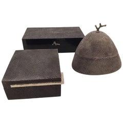 Shagreen Boxes, Set of Three