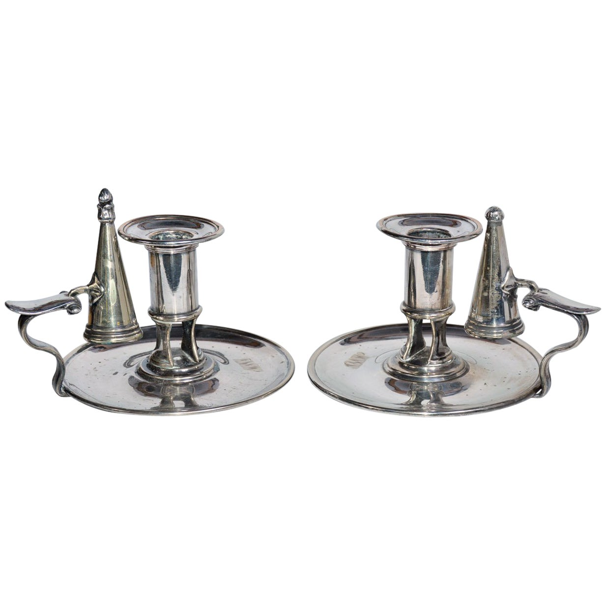 Pair of Sheffield Silver Plated Candleholders and Snuffers
